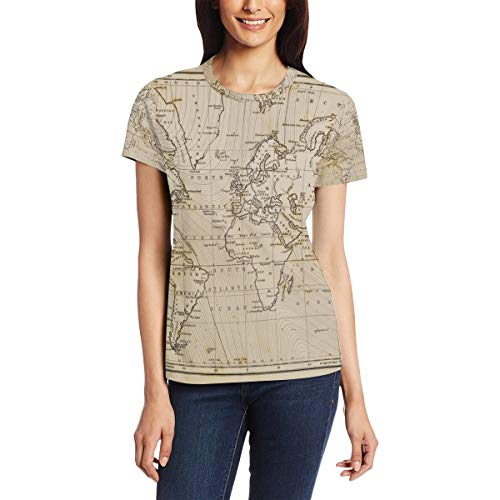CoolPrintAll Vintage Old World Map Women's Short Sleeve T-Shirt Top Tee