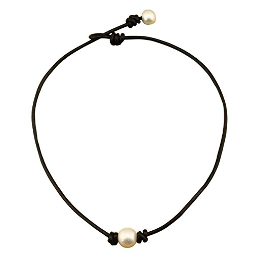 Aobei Pearl Single Cultured Freshwater Pearl Necklace Choker for Women Genuine Leather Jewelry Handmade, Black, 16 inches