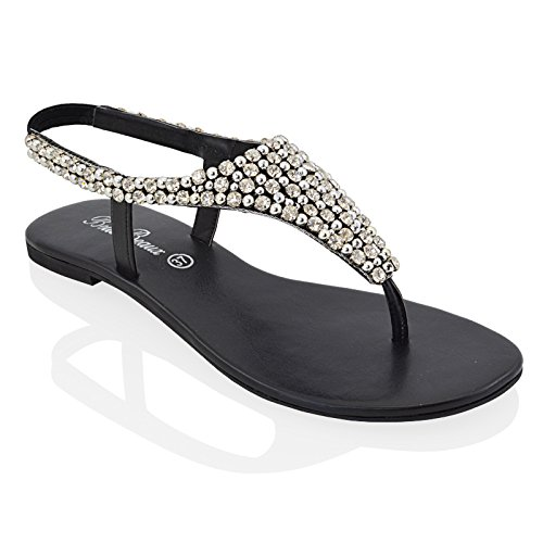Essex Glam Womens Diamante Pearl Toe Post Flat Sandals (9 B(M) US, BLACK)