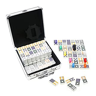 KAILE Mexican Train Dominos Game Set, 91 Tiles Double 12 Color Dots Dominoes Set for Travel Dominoes Game with Aluminum Case