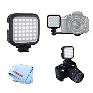 Universal Mini Portable Rechargeable USB LED Light for DSLR Cameras with Micro USB Cable for Nikon, Canon, Panasonic, Sony, Olympus, Fujifilm, Pentax Cameras & More