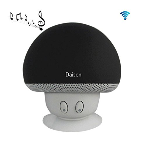 Daisen Portable Mini Wireless Bluetooth Speakers with Mic and Sucker Portable Small Stereo for iPhone and Android System(black)
