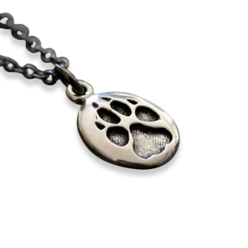 Moon Raven Designs - Sterling Silver Wolf Track Pendant Necklace - Hung on a Matching 18 Inch Chain - Jewelry with an Edge Inspired By Nature (Sterling Silver Custom Cast)