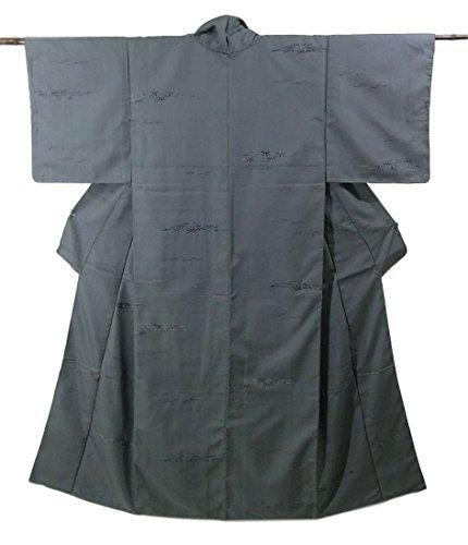 リサイクル 織りの着物  笹模様 正絹 裄62cm 身丈159cm