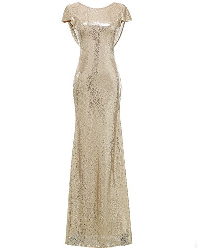 Gown Mermaid Silhouette Prom (SOLOVEDRESS Women's Mermaid Sequined Long Evening Dress Formal Prom Gown Bridesmaid Dresses (US 16 Plus, Champagne))