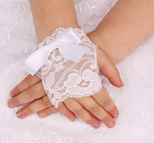 Little Girls White Lace Gloves with Big Bow Wedding