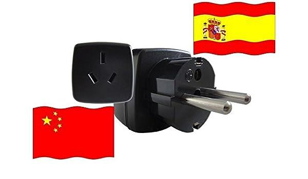 Adaptador de Viaje a España de China ES - CN Enchufe de Viaje España (Contacto Protección, 2200 Vatios): Amazon.es: Bricolaje y herramientas