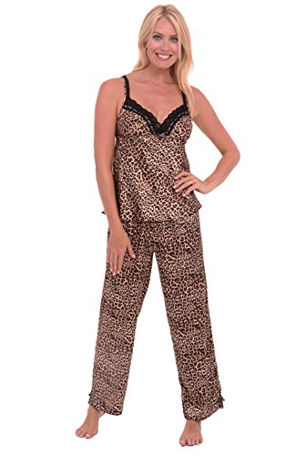 Del Rossa Women's Satin Pajamas, Long Lace Trim Cami Top Pj Set, Large Tan Leopard (A0776P04LG) (Style Lace Cami Set)