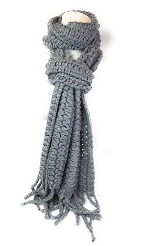 Angora Scarf - Trending Womens Designer Fashion Crochet Knit Fringe Winter Neck Warmers Stylish Scarf (Angora Grey 7771)