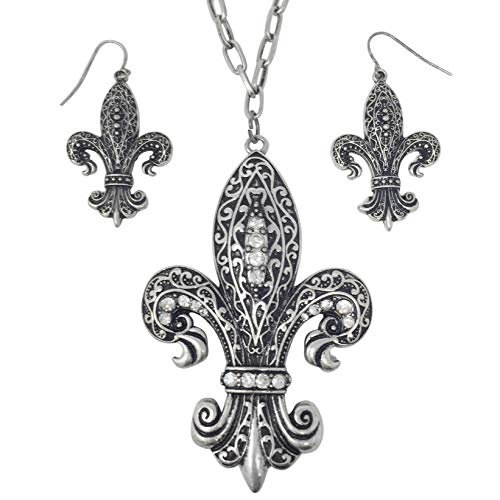 Gypsy Jewels Large Fleur De Lis with Rhinestones on Long Chain Necklace & Earrings Set (Vintage Black Swirl)