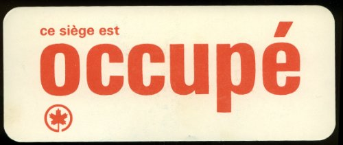 Trans Canada Airlines TCA Occupied Occupe seat sign 1960s (Canada Trans Tca Airlines)
