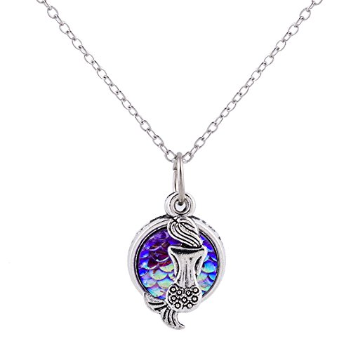 Wxbox Summer Birthday Gift Mermaid Pendant necklace for girls (Purple) ()