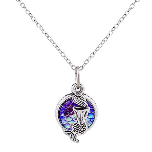 Wxbox Summer Birthday Gift Mermaid Pendant necklace for girls (Purple)
