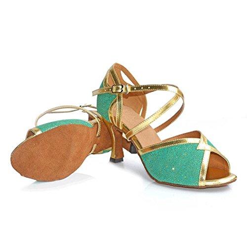 Women's Synthetic Flare Salsa Tango Dance Heel Glitter Green Monie Shoes Ballroom Modern BExIzdBqw