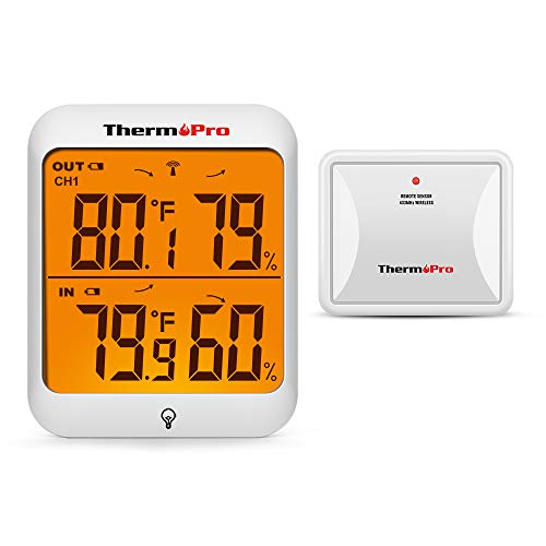 ThermoPro TP63A Waterproof Digital Indoor Outdoor Thermometer Wireless Hygrometer with Cold-Resistant Outdoor Temperature Thermometer Humidity Gauge Temperature Monitor, 200ft/60m Range