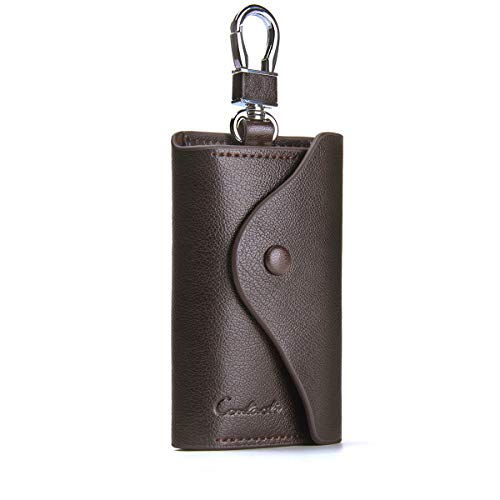 (Contacts Mens Genuine Leather Cowhide Car Key Case Card ID Holder Wallet Keyring Keychain Brown)