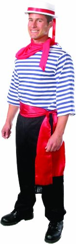 Alexanders Costumes Men's Gondolier, Blue/White, Medium -