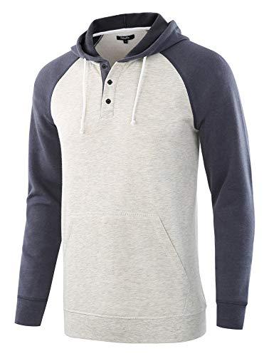 - Estepoba Men's Casual Long Sleeve Henley Sweatshirt Knit Fleece Hoodie Pullover H.Oatmeal/C.Blue M