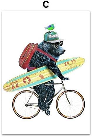 Dibujos animados oso panda perro bicicleta arte de la pared lienzo ...