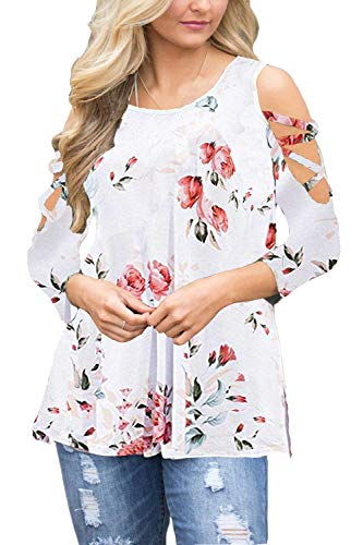 Kancystore Women's Summer Short Sleeve Floral Print Open Shoulder Loose Tunic Tops (White Floral, M)