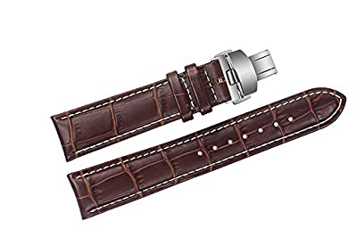 20mm Brown Luxury Replacement Leather Watch Straps/Bands Handmade with White Contrast Stitching for High-end Brands
