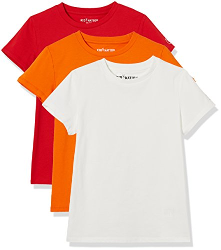 Kid Nation Kids Unisex 3 Packs 100% Cotton Tagless Short Sleeve Crewneck T Shirts 4-12 Years