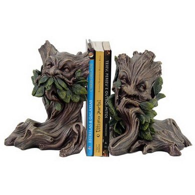 Green Man Bookend Set, 6 inches - Green Bookends