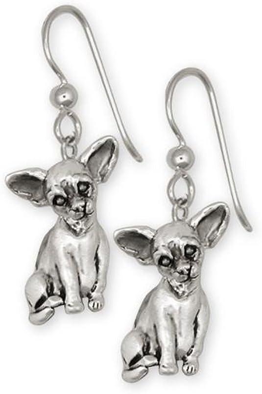 Chihuahua Jewelry Long Hair Chihuahua Tie Tack Jewelry Sterling Silver Handmade Chihuahua Tie Tack CU12-TT