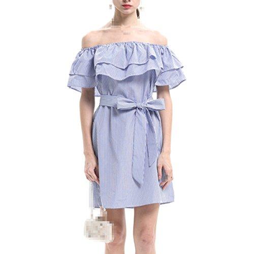 Verano Ladie Moda Simple Mayores Relajados Rayas Atractivo Vestidos Blue