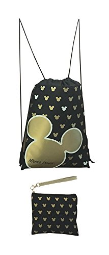 Disney Mickey Mouse Glow in the Dark Drawstring Backpack with Bonus Wristlet Wallet -