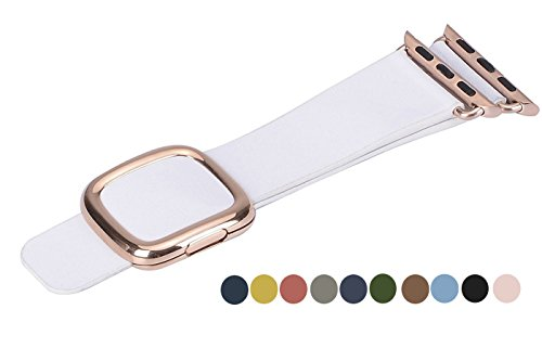 JSGJMY Apple Watch Band 38mm Cuff Leather Loop Original Modern Buckle With Magnetic Clasp Replacement Strap for iwatch Series1 Series2 (White+Rose Gold Buckle, 38MM - Face Buckle