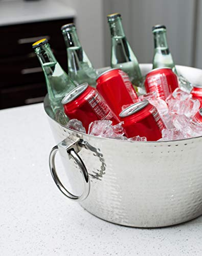 Have your next drink ready to go with this indoor or outdoor stainless steel tub.