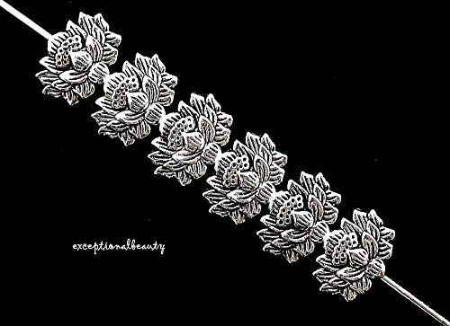 Cast Metal Charms (10 Antiqued Tibetan Silver 12mm Lotus Flat Flower Spacer Accent Metal Beads)