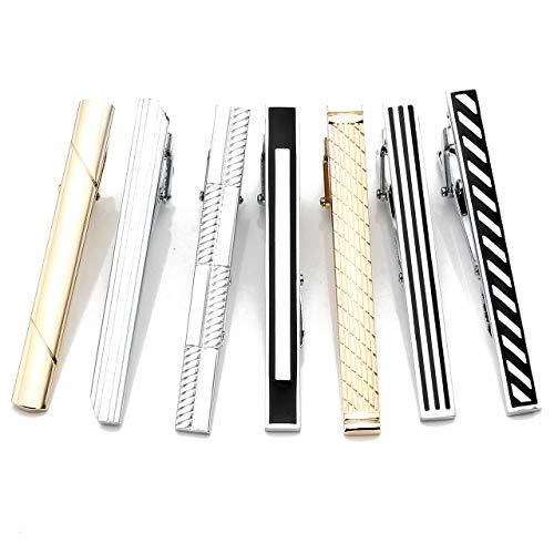 Zysta 7PCS Fashion Gold Silver Black Tie Clips Men Stainless Steel Formal Dress Necktie Bar Clasps Set by Zysta