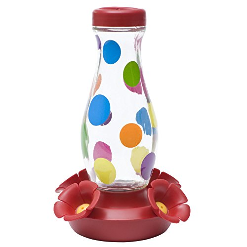 Perky-Pet Colorful Dots Glass Hummingbird Feeder, 16 oz. (Pets Dot Com)