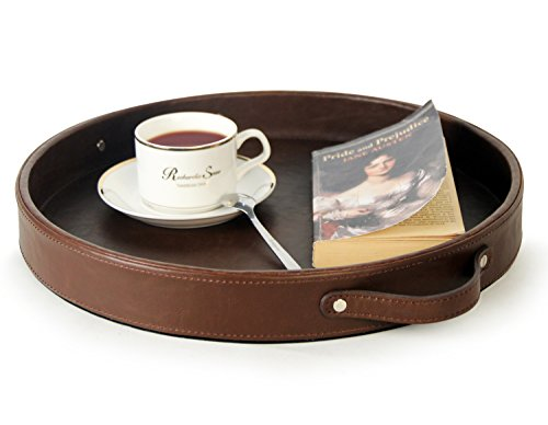 Ms.Box PU Leather Round Serving Tray with Handles, Brown (Round Leather Tray)