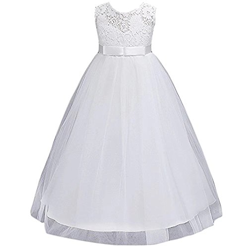 ZAH Girl Dress Kids Ruffles Lace Party Wedding Dresses Christmas Gowns(White,5-6Y) (Girl Dress Bridals Romantic Flower)