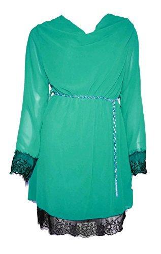 #784 Damen Chiffonkleid edel Tunika Kleid Lagenlook Langarm Spitze Gold Kette Gürtel Unterkleid 34 36 38 Onesize verschiedene Farben