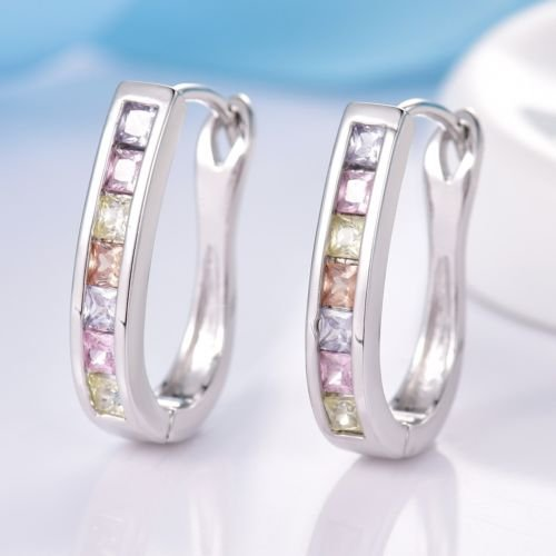 - Gozebra(TM) Women Colorful Topaz Crystal Horseshoe White Gold Filled Chic Leverback Earrings
