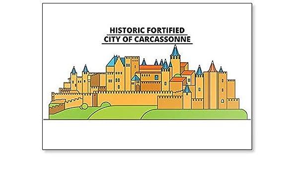 Imán para nevera con ilustración minimalista de ciudad de Carcassonne de Historic Fortificado: Amazon.es: Hogar