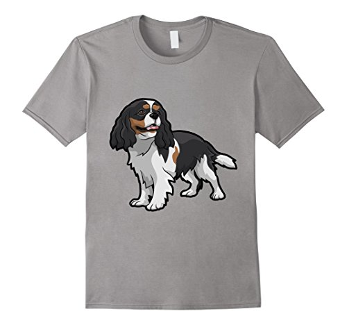Mens Cute Tri-Color Cavalier King Charles Spaniel T-Shirt XL Slate - Cavalier Spaniel Tri Color