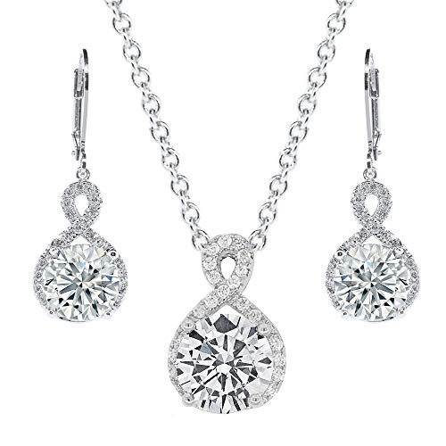 Cate & Chloe Alessandra Jewelry Set, 18k White Gold Cubic Zirconia Pendant Necklace and Dangle Earrings, Bridal Jewelry Set, Round Cut Necklace Earring Set for Women, Silver Halo Jewelry -