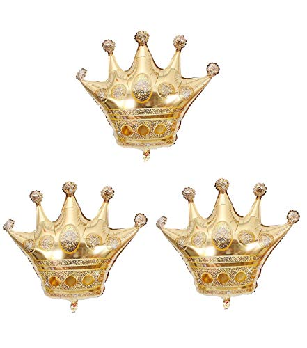 KODORIA 3Pcs Crown Balloons Foil Helium Mylar Balloons for Birthday Wedding Halloween Christmas Party Decoration - Golden