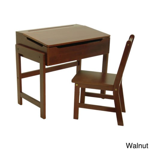 Children's Walnut Slanted Top Storage Solid Wood Desk and Chair for Writing by Lipper International