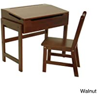 Childrens Walnut Slanted Top Storage Solid Wood Desk and Chair for Writing