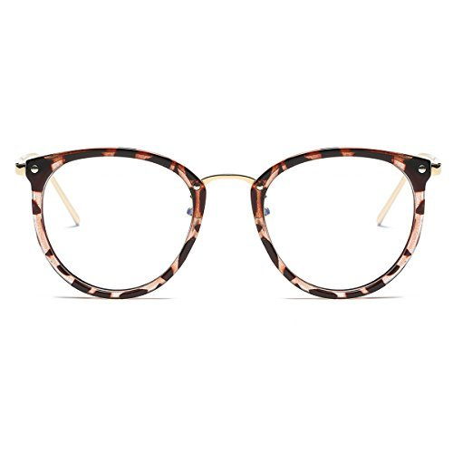 Amomoma Womens Fashion Clear Lens Round Frame Eye Glasses AM5001 Leopard Frame/Clear Lens