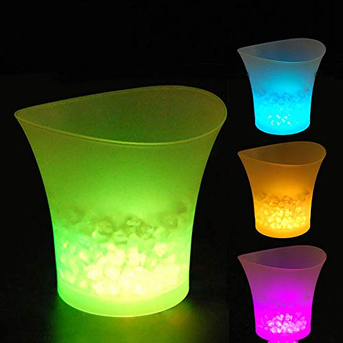 5L Glowing LED Ice Bucket 7-Color Champagne Wine Drinks Beer Ice Cooler for Restaurant Bars Nightclubs KTV Pub Party