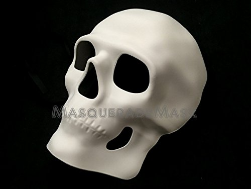 Día de Muertos Masquerade Sugar Skull Skeleton Mask Day of the Dead Wear or Deco (White)