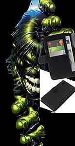 """A-type (Green Giant Superhéroe"""") Colorida Impresión Funda Cuero Monedero Caja Bolsa Cubierta Caja Piel Card Slots Para Sony Xperia Z2 D6502"""