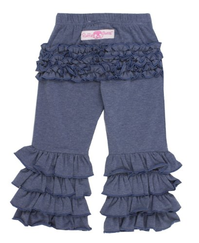 RuffleButts Infant / Toddler Girls Faux Denim Stretchy Flare Pants w/ Ruffles - Blue - 6-12m - Knit Ruffle Pants